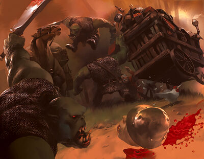 Warhammer LCG Smash Go Boom by Cryptcrawler Guerreros Orcos atacando carromato