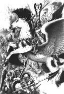 Héroe Alto Elfo contra Orcos por John Blanche