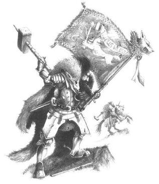 Caballero del Lobo Blanco Portaestandarte por John Blanche