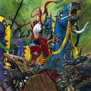 Caballeros del Reino Bretonia cargando contra Skavens por Adrian Smith