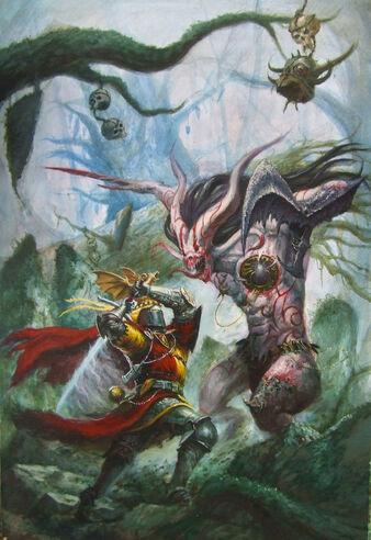 La Busqueda del Grial por Tze Kun Chin Caballero Bretoniano contra Demonio de Slaanesh