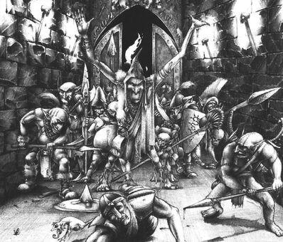 Escrotoderrata Tragalodo y la tribu Nariz Sangrienta por Adrian Smith
