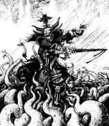 Paladin del caos ataque serpientes por John Blanche