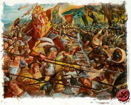 Alabarderos imperiales contra hombres bestia