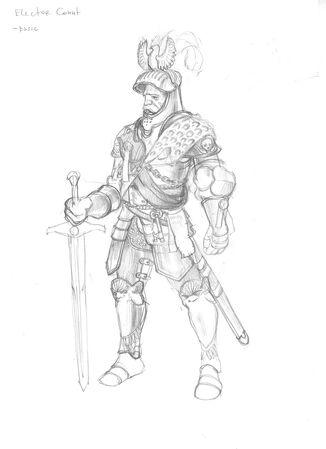 Conde Elector del Imperio por Gergely Fejervary Warhammer Mark of Chaos Boceto