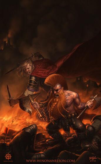 Félix y Gotrek batalla por Winona Nelson