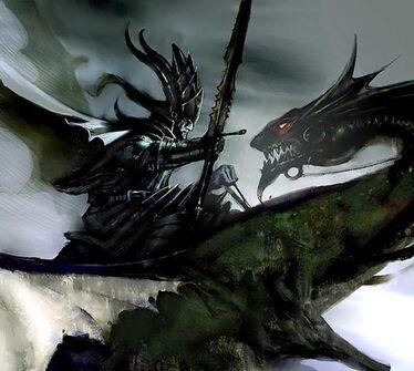 Dark Dragon Rider by John Gravato Dragón Negro Elfos Oscuros