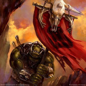 Warhammer invasion Portaestandarte orco de JB Casacop