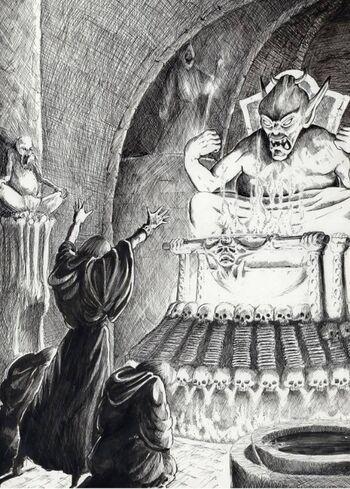 Adoración demoníaca por Tony Ackland Demonio Caos