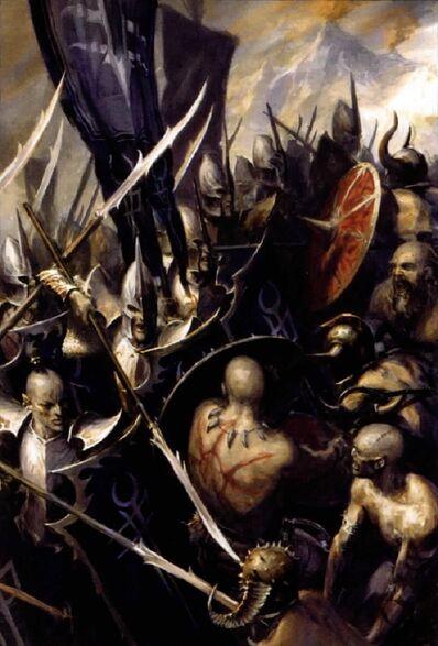 Guerreros Elfos Oscuros contra Bárbaros del Caos