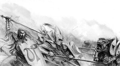 Lanceros altos elfos luchando contra orcos