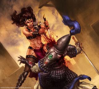 Warhammer invasion Sed de Sangre por John Taillon Elfa Bruja