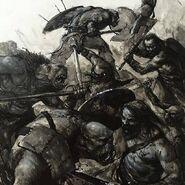 Guerreros Orcos contra Bárbaro del Imperio por Karl Kopinski