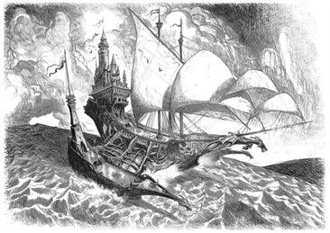 Bloody-handed-dragonship Nave Dragón por Tiernen Trevallion