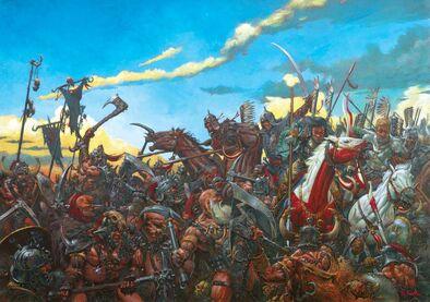 Portada Los Jinetes de la Muerte por Adrian Smith Lanceros alados Kislev contra Bárbaros del Caos