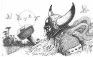 Sven Hasselfriesian el Magnífico Enanos 2ª Edición John Blanche ilustración