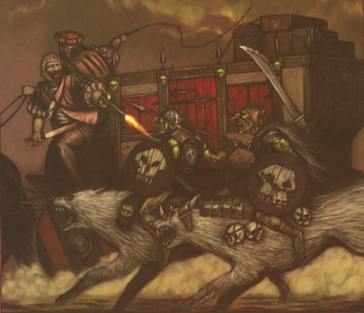 Jinetes Lobo Goblins atacando carruaje