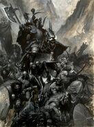 Guerreros del Caos Campeón y Bárbaros por Paul Dainton