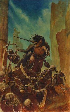 Portada novela Blades of Chaos por Paul Dainton