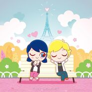 Chibi Marinette and Adrien sleeping on a bench