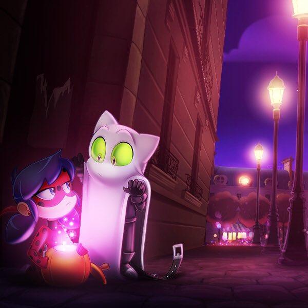 ladybug and ghost cat noir halloween artwork