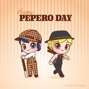 Chibi Marinette and Adrien Pepero day