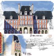Paris Buildings and Park concept art