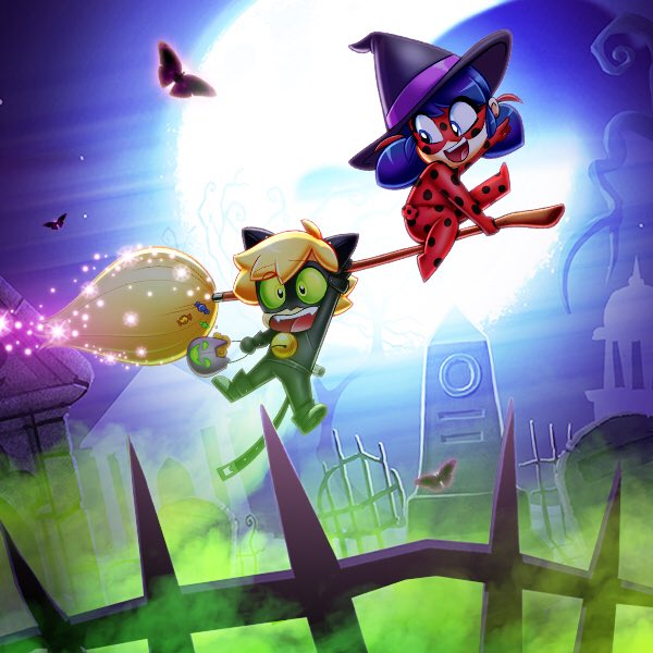 Cat Noir And Witch Ladybug Halloween Artwork
