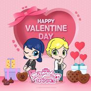 Chibi Marinette and Adrien Valentine's day