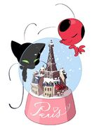 Plagg and Tikki with snow globe artwork
