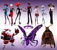Prime Queen, Gina Dupain, Befana, Catalyst, Kagami Tsurugi, Riposte, Audrey Bourgeois, Santa Claws, Sentimonster and Dark Owl concept art