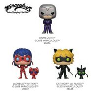Ladybug Cat Noir and Hawk Moth Funko