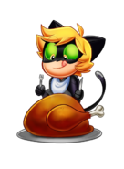 Cat Noir Thanksgiving feast art by Angie Nasca