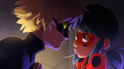 Cat Noir flirting with Ladybug concept art