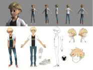 Adrien Agreste 2D to 3D Turnaround Sheet