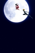 Ladybug and Cat Noir over the moon concept