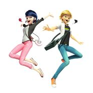 Marinette and Adrien jumping with their kwamis