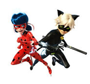 Ladybug and Chat Noir ice forms side by side