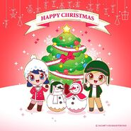 Chibi Marinette and Adrien Christmas