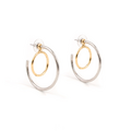 Joomi Lim - Small 2 Part hoop earrings w interlocking hoops rhodium-gold