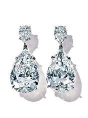 Tiffany & Co. - Platinum 24 carats juxtapose pear-shaped diamond earrings