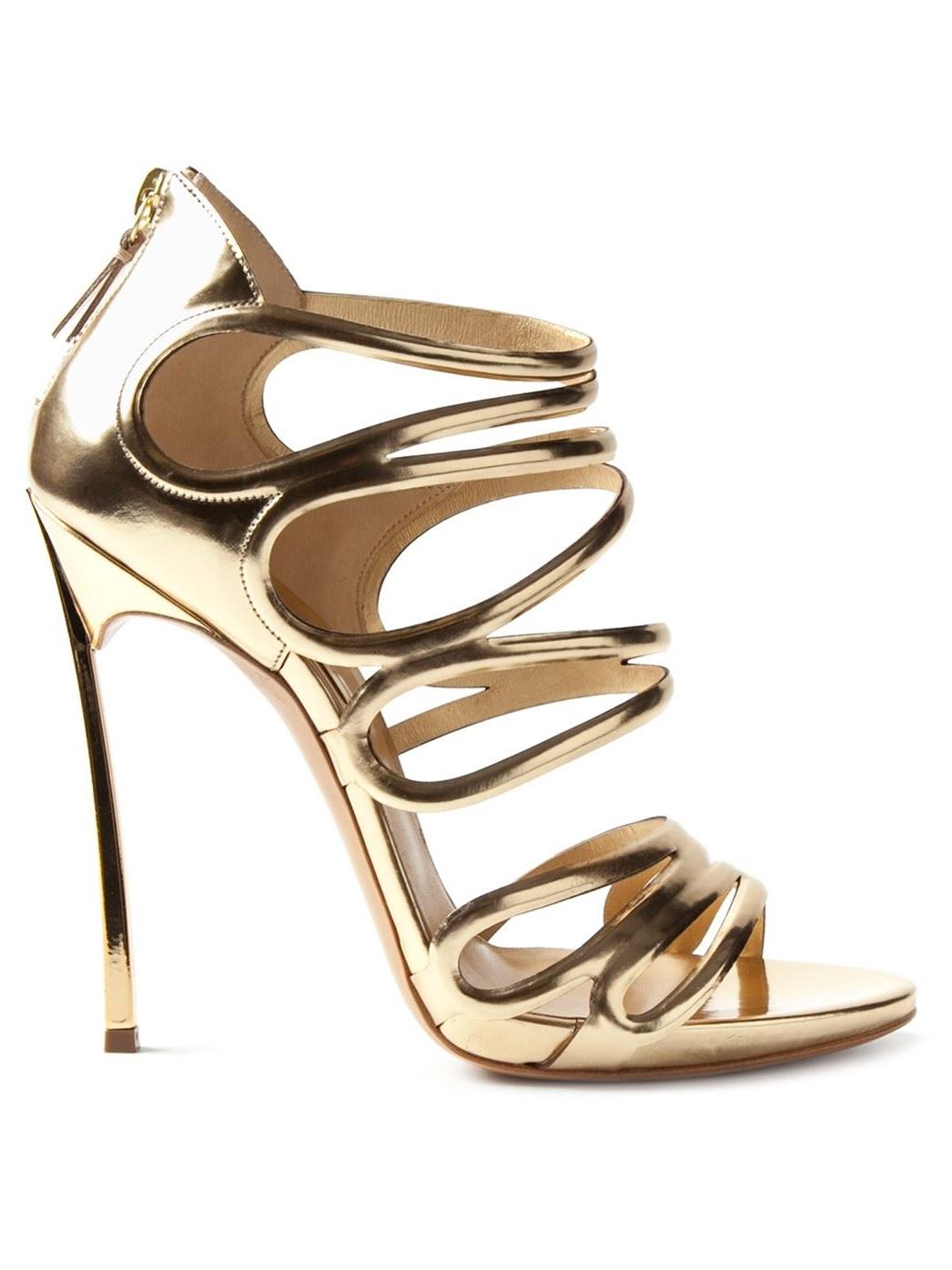 Golden leather sandals Casadei pDM0g