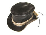 Jordan Betten - Leather top hat with rattlesnake skin band