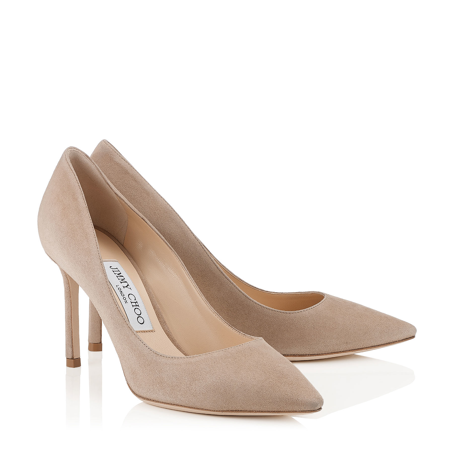 Jimmy Choo - ''Romy 85'' nude suede pointy toe pumps.jpg