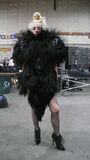 Monster Ball Goat Fur Jacket fitting