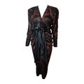 Galanos - 1980's black and espresso floral print ruched cocktail dress