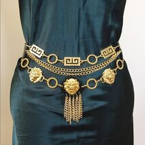 Axessorium - 90s leather gold chain belt