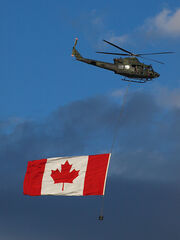 Canadian Military Helicopter with Canadian Flag