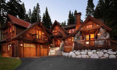 Rustic-garage-doors-exterior-with-birdhouses