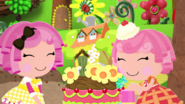 S2E18 Crumbs and Cherry smiling with cake